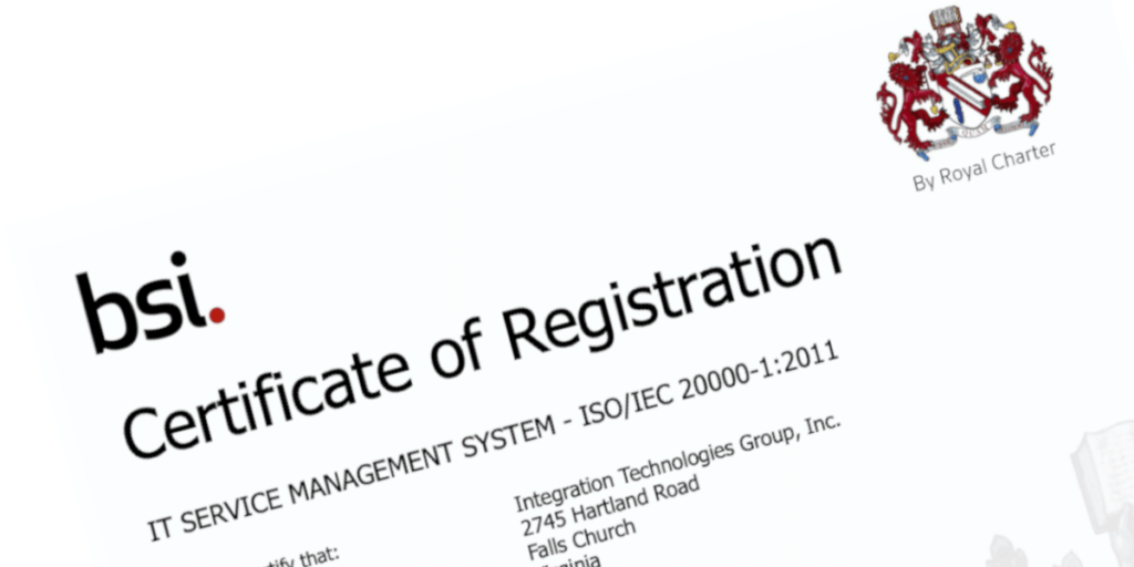 ITG ISO 20000-1 Certificate of Registration 510075