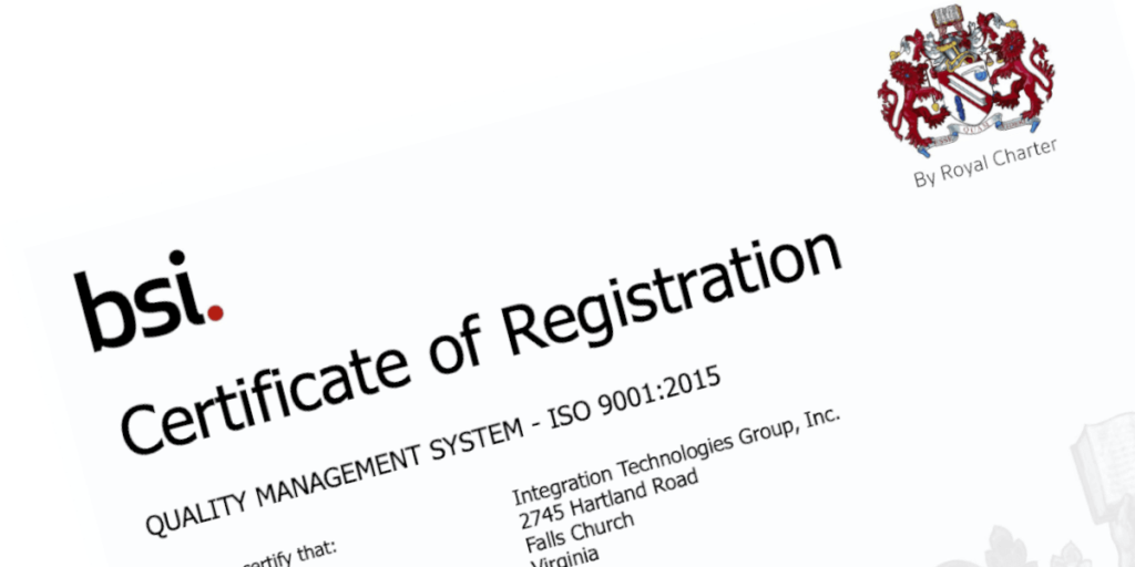 ITG ISO 9001:2015 Certificate of Registration